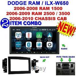 06 07 08 09 10 DODGE RAM CAR STEREO RADIO DOUBLE DIN INSTALL KIT ALPINE iLX-W650