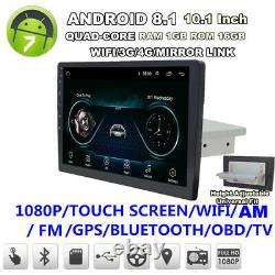 1 Din 10.1 Android 8.1 Car Stereo Radio GPS Wifi 3G 4G BT DAB Mirror Link OBD