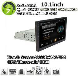 1DIN 10 Android 8.1 Car Stereo Radio Head Unit Mirror Link 2+32G Wifi GPS Navi