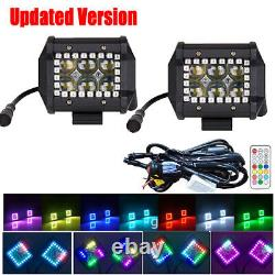 2x 4 Inch 4D LED Work Light Spot Fog Pods RGB Halo Ring Chasing +Control Wiring