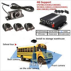 4CH Vehicles DVR 4G Wireless GPS Antenna Video Recorder+Remote+4HD Cameras 12V
