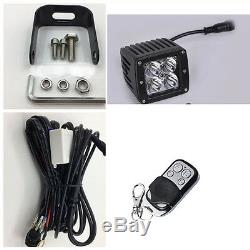4x Amber/White/Strobe Dual Color LED Work Light Cube 3X3 Pods Offroad + Wiring