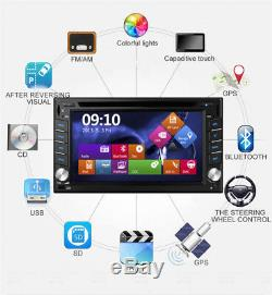 6.2 GPS Navigation Double Din Car Stereo DVD Radio Player Blueteeth FM + 8G Map