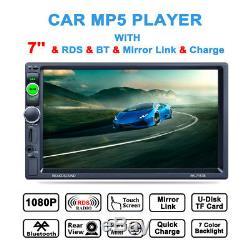 7 TFT Screen 2 DIN Bluetooth Car Dash Audio RDS/FM Radio Stereo MP5 Player Kit