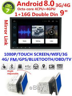 9 Android 8.0 2Din Car Stereo GPS Radio 4GB RAM 8-CORE TPMS WiFi TPMS