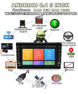 9in Android 8.1 Car Stereo Radio GPS MP5 Player HD Touch Screen Bluetooth Radio