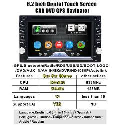 Backup Camera GPS Double 2 Din Car Stereo Radio CD DVD Player Bluetooth AUX Map
