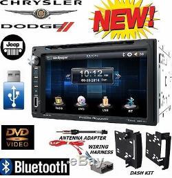 CHRYSLER JEEP DODGE Power Acoustik Bluetooth Double Din DVD Stereo +Kit /Harness