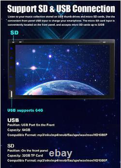 Car DVD CD Player 7 2DIN In Dash NO GPS FM+BT+Radio Stereo USB+SD+Backup Camera