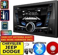 Chrysler Jeep Dodge Double Din Car Radio Stereo CD Usb Aux Bluetooth Pkg