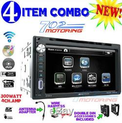 Chrysler Jeep Dodge Power Acoustik Double Din DVD Radio Stereo + Kit & Harness