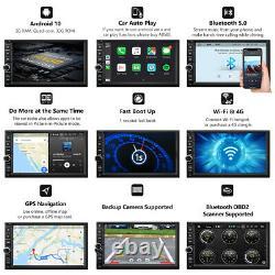Quad-Core Android 10 7 HD Car Stereo Head Unit GPS Navi Radio 2Din RAM2GB OBD