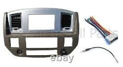 Radio Double Din Dash Install Bezel Kit Silver Beige Fits 2006-2009 Dodge Ram