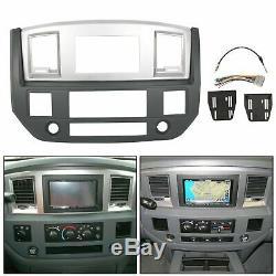 Radio Double Din Dash Install Bezel Kit Silver Slate Grey Fits 2006-09 Dodge Ram
