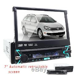 Single 1 DIN 7 HD Flip Up GPS Navigation Car Stereo CD DVD MP3 Player Radio BT