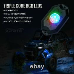 Xprite 8pcs RGB LED Rock Lights Bluetooth Dancing for Trucks Jeep UTV Buggy